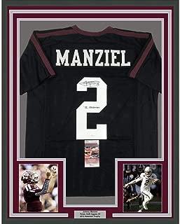 Framed Autographed/Signed Johnny Manziel 12 Heisman 33x42 Texas A&M Black College Football Jersey JSA COA