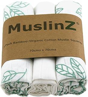MuslinZ 3PK Bamboo/Organic Cotton Muslin Squares 70x70cm Aqu