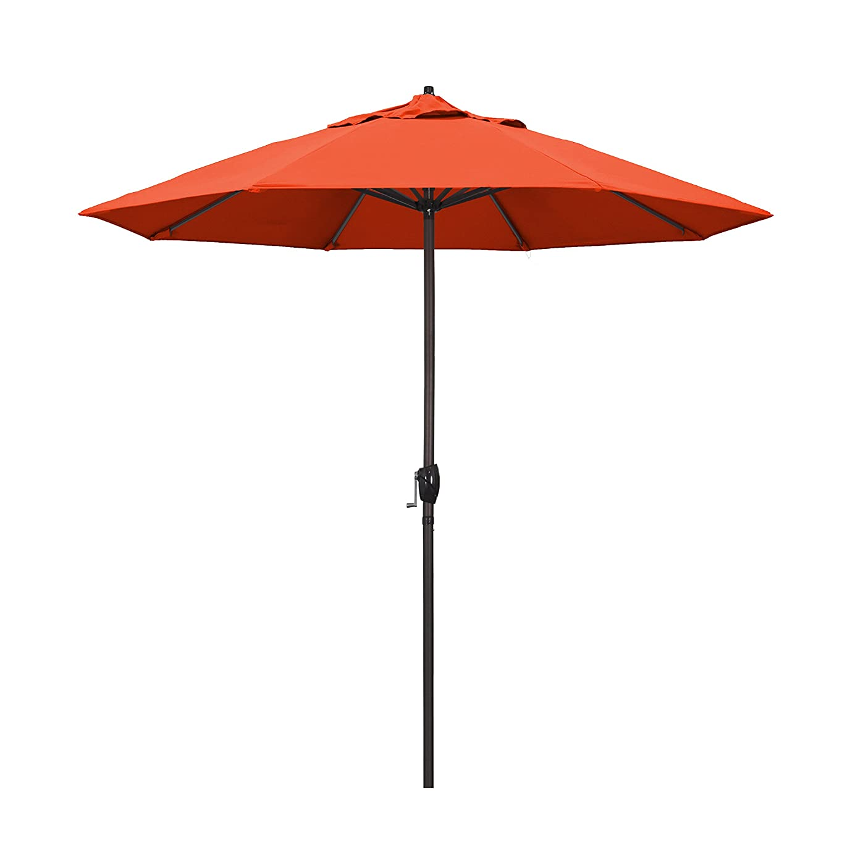 California Umbrella 9' Round Aluminum Market Umbrella, Crank Lift, Auto Tilt, Bronze Pole, Sunset Olefin