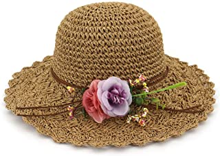 Summer hat Summer Women's Chaff Bucket Hat with Flower Handmade Outside Summer Beach Sun Hat hat (Color : Coffee, Size : 56-58CM)