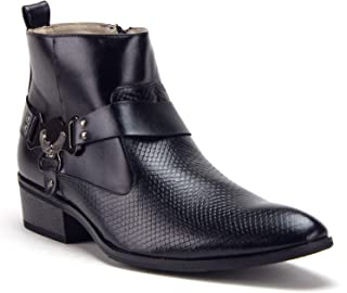 Men's Western Ankle High Cowboy Motorcycle Riding Pointy Toe Moto Dress Boots