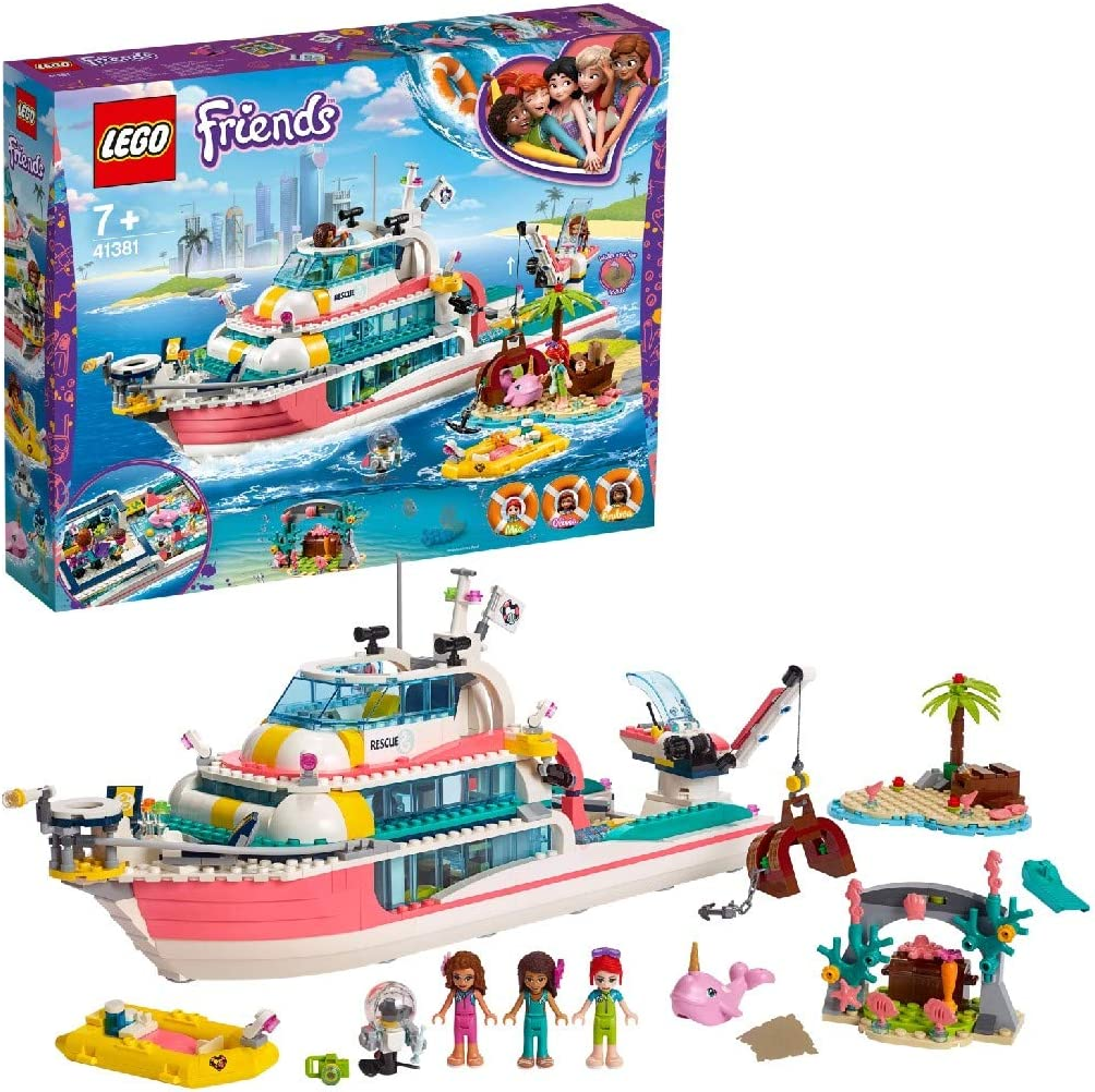 Lego 41381 Friends Mission Boat Island Toy for Kids with Olivia, Andrea and Mia Mini Dolls, Plus Robot and Whale Figures, Sea Life Rescue Series, Multicolour