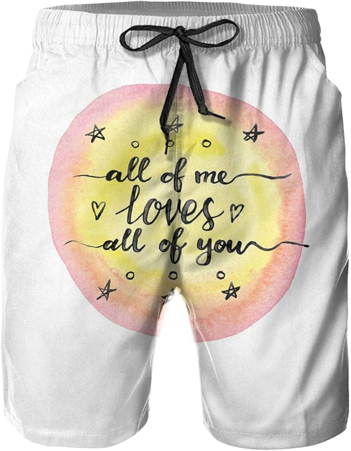 All of Me Loves All of You Hand Drawn Calligraphic Valentines Quote Watercolor Swimming Trunks for Men Beach Shorts Casual Style,M