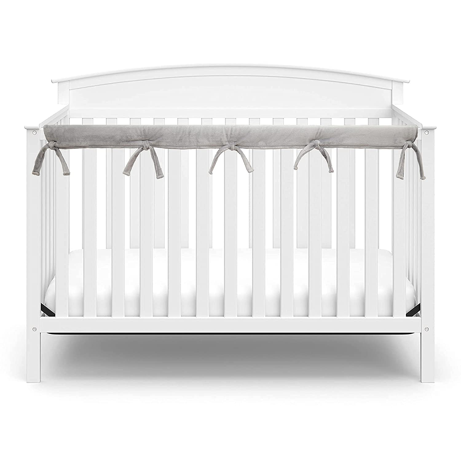 American Baby Company Supreme 1 Pack Heavenly Soft Narrow Reversible Crib Rail Cover for Long Rail, Gray and White, for Rails Measuring up to 4