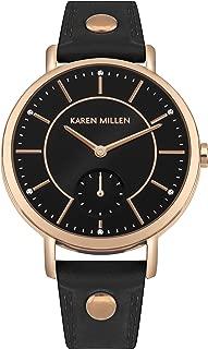 Karen Millen Women's Quartz Brass and Leather Watch, Color:Black (Model: KM159B)