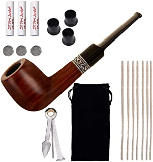 Capo Lily Tobacco Pipe, Handmade Wooden Smoking Pipe with Accessories, Pipe Cleaners, Pipe Bits, 9mm Pipe Filters, 3-in-1 ...