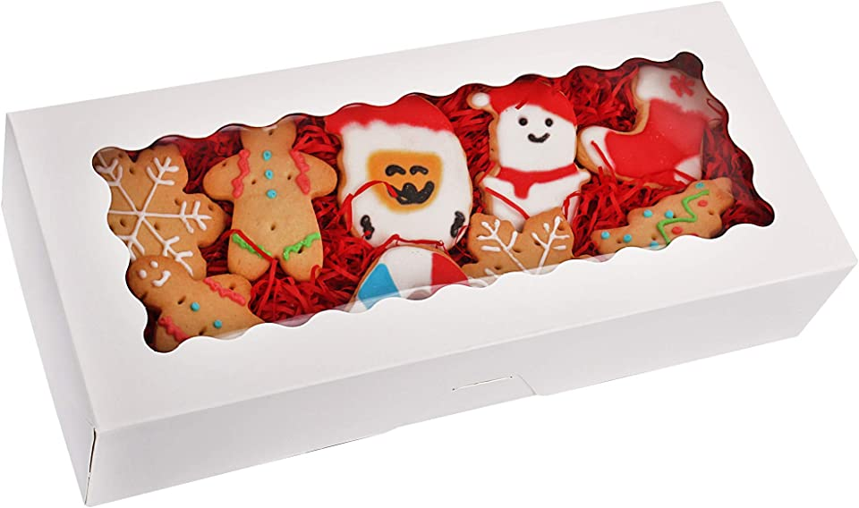 Tcoivs 30-Pack Cookie Boxes 12.5 x 5.5 x 2.5, Bakery Boxes with Window, Auto-Popup Treat Boxes for Pastries and Muffins (White)