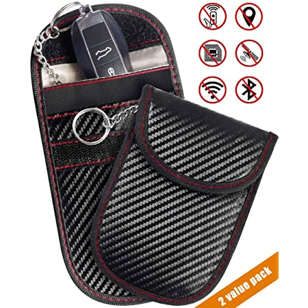 Key Fob Holder Anti Theft Car Carbon Fiber Keyless RFID with Red and Black Two Pack