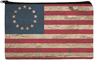 Rustic Betsy Ross 1776 Distressed American Flag Makeup Cosmetic Bag Organizer Pouch