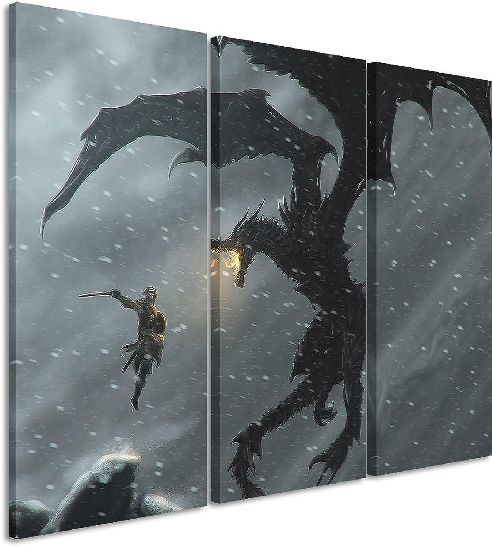 Leinwandbild 3 teilig The_Elder_Scrolls_V_Skyrim_3x90x40cm (Gesamt 120x90cm) _Ausführung schöner Kunstdruck auf auf auf echter Leinwand als Wandbild auf Keilrahmen B00S3XL92O a95023