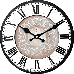 Meistar Home Decor 12 Inch Wooden Retro White Pattern Wall Clock,Classic French Country Style Wall Clock for Kids Room,Kitchen,Study Room,Dining Room