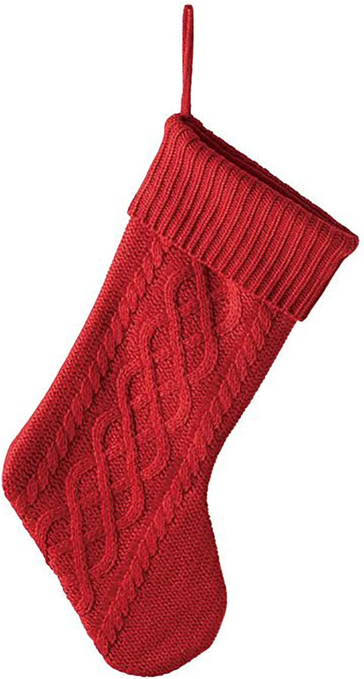 Red Cable Knit Sweater with Ribbed Christmas Stocki Cuff Rapid rise Boston Mall 20 inch