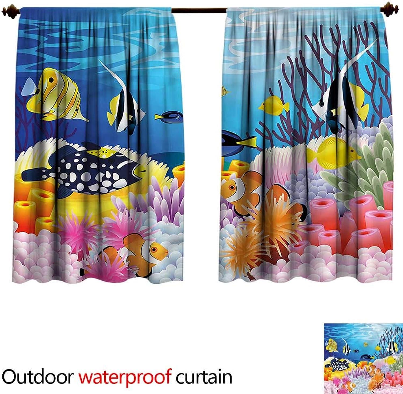 BlountDecor UPF Outdoor curtainAntiWater W84 x L72(214cm x 187cm) Fish,Fish Coral Reefs