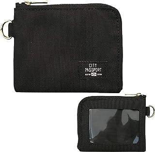 財布 小型 パスケース コインケース 無地 ブラック 薄型 レディース メンズ ( 日本製 旅行 サブウォレット おしゃれ 定期入れ ) 【 CITYPASSPORT 】