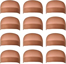 12 Pack Dreamlover Brown Nylon Wig Caps, Stretchy Close End Stocking Wig Caps