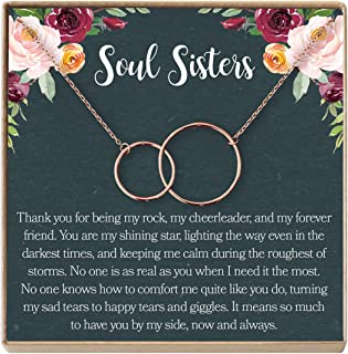 Dear Ava Soul Sisters Gift Necklace: Best Friends, BFF, Long Distance, Friends Forever, 2 Interlocking Circles