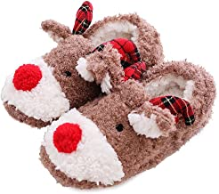 Slippers for Women, Soft Plush Anti-Skid Indoor Cute Reindeer Fluffy House Winter