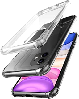 amCase iPhone 11 (6.1'') Clear Case, Hybrid Shock Absorbing TPU Frame & Rigid Back Plate Protective Case for iPhone 11 (2019) - Clear