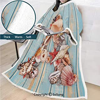 Letter A Premium Sherpa Deluxe Fleece Blanket with Sleeves,Letter A with Seashells on Pale Wooden Board Invertebrates Animal Decorative Throws Wrap Robe Blanket for Adult Women,Men,Pale Blue Ivory Dar