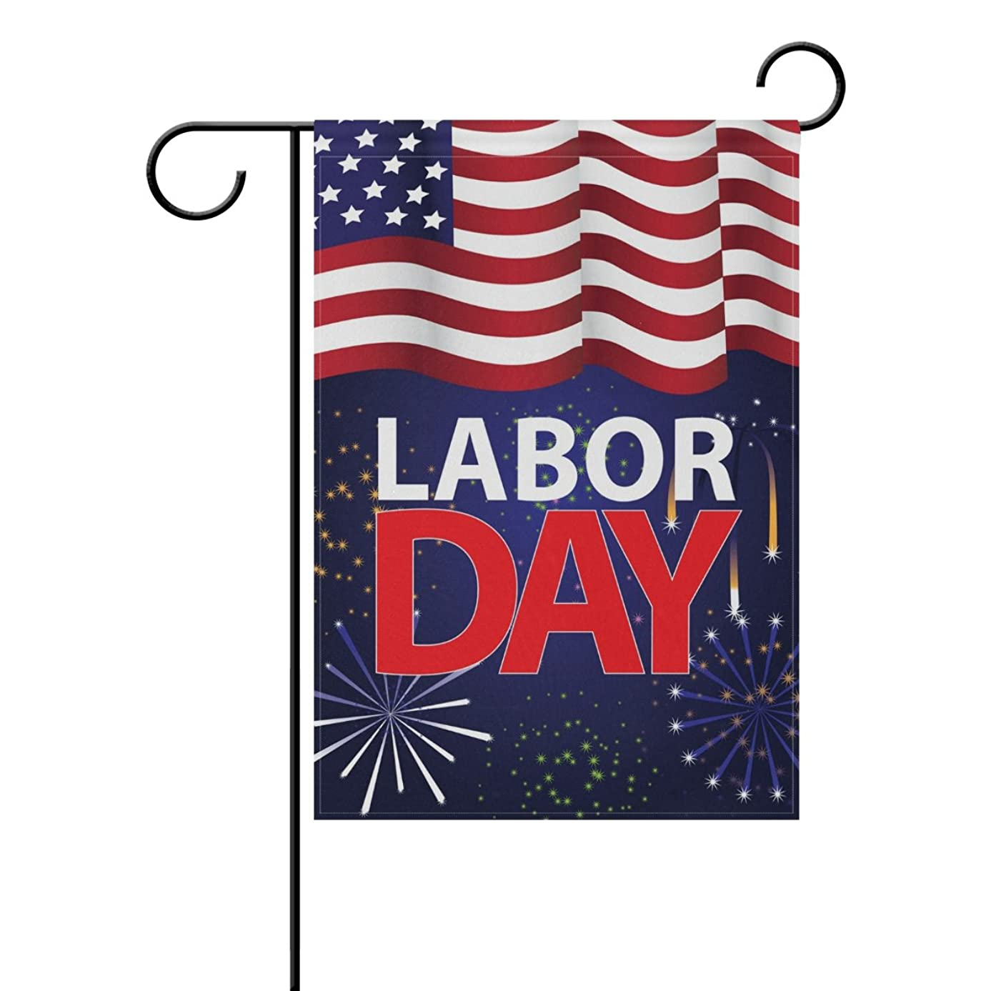 ALAZA Labor Day American Flag Fireworks Decorative Double Sided House Flag 28 x 40 inch