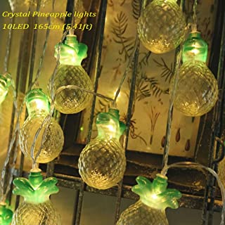 Mini Crystal Pineapple String Lights Linpote 165cm(5.4ft)10 LED Warm White Battery Operated Indoor LED Fairy Light for Home Bedroom Birthday Party Decoration