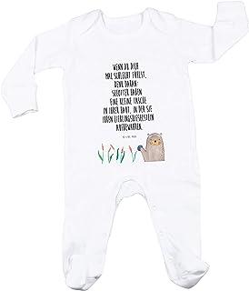 Mr. & Mrs. Panda Mr. & Mrs. Panda Geschenk, Schlafanzug, 3-6 Monate Baby Strampler Otter mit Stein mit Spruch - Farbe Weiß