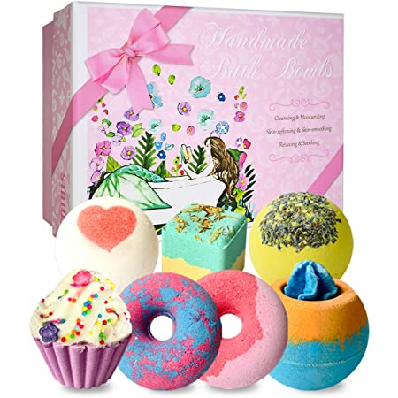 7 Natural Bath Bombs, STNTUS INNOVATIONS Bath Bombs for Women, Spa Bubble Fizzies, Luxurious Gift for Girls Kids, Beauty Gifts Set for Her on Christmas Valentines Birthday Mothers Day Anniversary