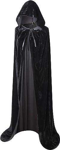 """BIGXIAN Full Length Hooded Velvet Cloak Halloween Christmas Fancy Cape Costumes 59"""""""
