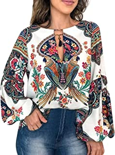 Loosebee◕‿◕ Women Summer Casual V-Neck Floral Print Long Sleeve Lantern Sleeve Boho Top Blouse T Shirt