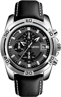 Pilot Aviator Military Watch Chronograph Sports Mens Black Leather Waterproof Quartz Dress Bracelet Watch (Silver)