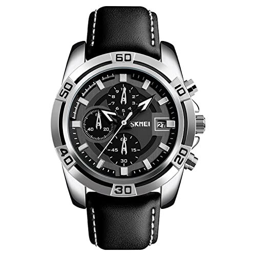 Pilot Aviator Military Watch Chronograph Sports Mens Black Leather Waterproof Quartz Dress Bracelet Watch (Silver