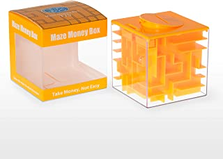 Elfesto Money Maze Puzzle Box: 3D Maze Money & Credit Card Gift Cube| Piggy Bank Money Holder/Saving Box|Fun, Challenging Game/ Brain Teaser for Kids & Adults|Top Money Gifting Puzzle Cube Box|Yellow