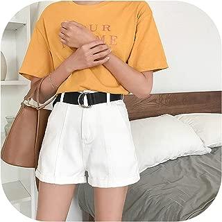 Drem-wardrobe Flared Pants Summer Autumn Casual Sashes Denim Shorts Women Wide High Waist Loose Leg Shorts Slim
