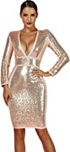 Best gold plunge sequin long sleeve bodycon dress Reviews