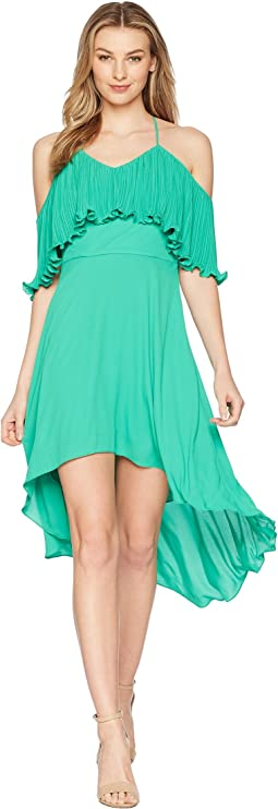 Halston Heritage Sleeveless V-Neck Dress w/ Pleated Flounce Top