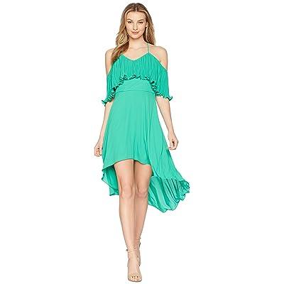Halston Heritage Sleeveless V-Neck Dress w/ Pleated Flounce Top (Jade) Women