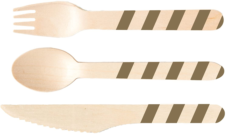 Perfect Sacramento Mall Stix Gold Stripes Set-36ct Set Wooden online shop with Cutlery