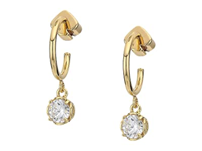 Kate Spade New York That Sparkle Mini Round Huggies Earrings (Clear/Gold) Earring