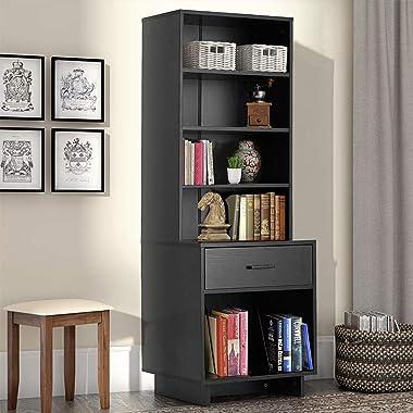 MELLCOM Wooden Bookcase Storage Cabinet Bookshelf with 3 Shelves and 1 Drawer, Modern Standing Shelf, Side Corner Storage Cab