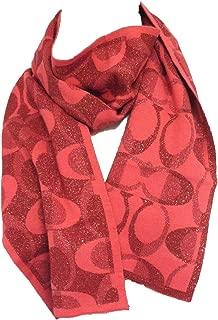 Coach Signature C Women's F83834 Tonal Dream Knit Wool Scarf Pink