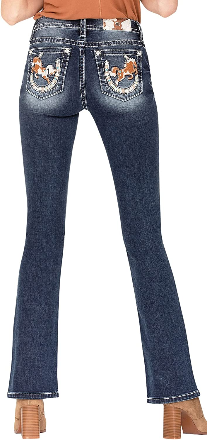 Miss Me Women's Mid-Rise Chloe Boot Jeans with Cowhide Leather Horse Over Horseshoe Designs