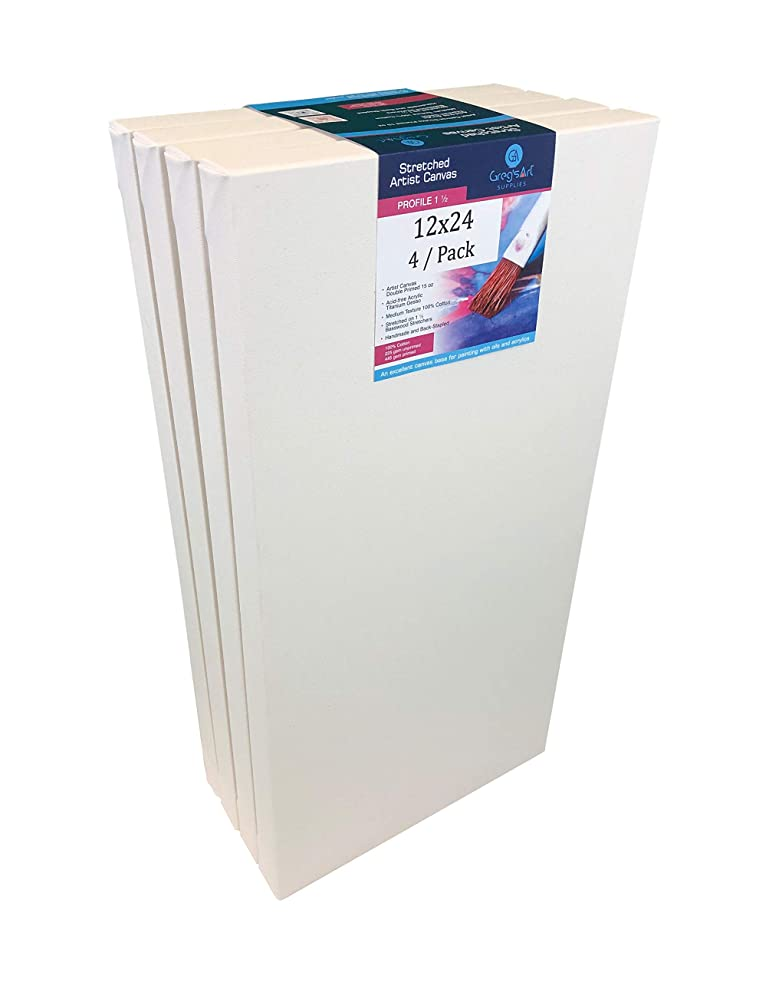 "Greg's Artist Canvas, Profile Canvas (4 / Pack) On 1 ?"" Stretcher Bars, Double Primed with Acrylic Gesso 15 oz, Suitable for Oil, Acrylic Paints & Mixed Media Applications, Back Stapled (12"