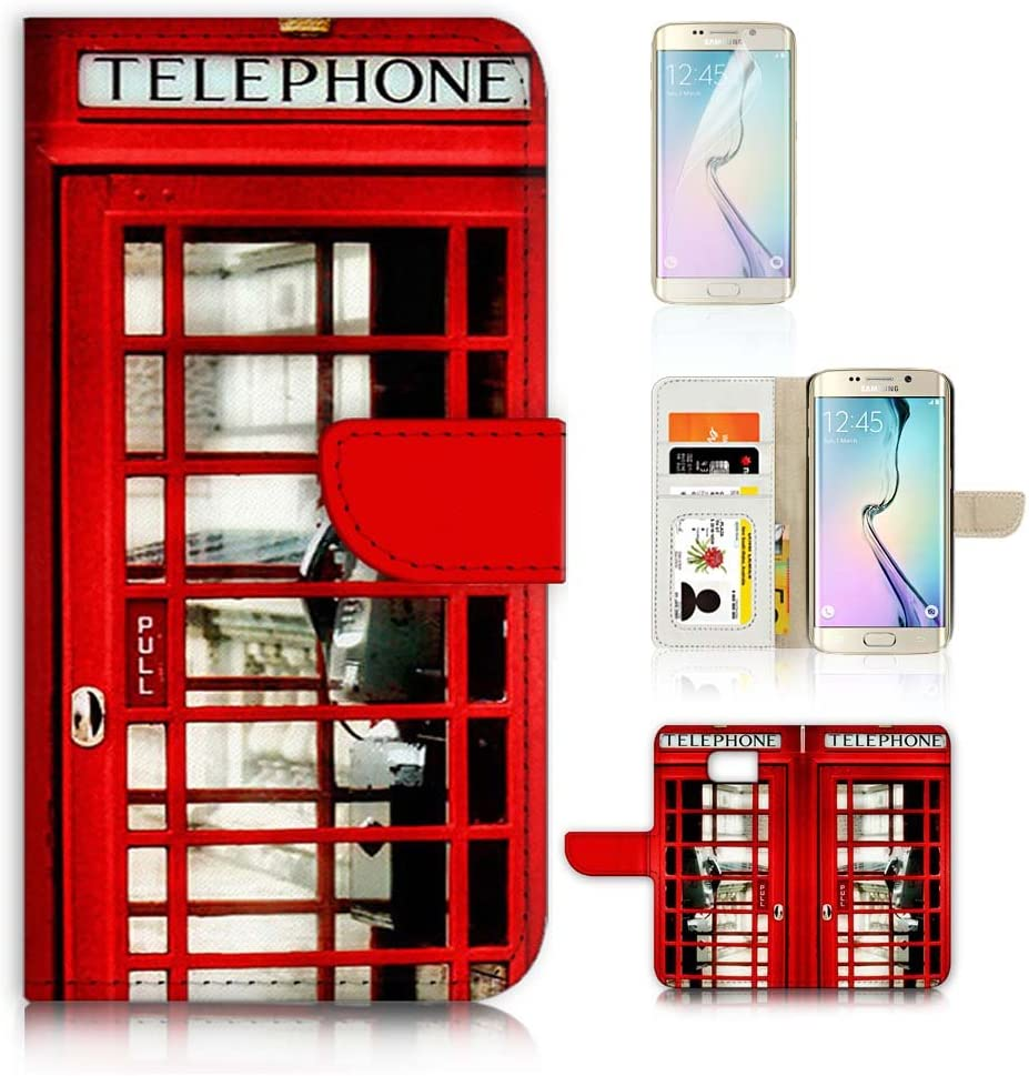 (for Samsung S7 Edge, Galaxy S7 Edge) Flip Wallet Case Cover & Screen Protector Bundle - A0096 British Red Phone Booth