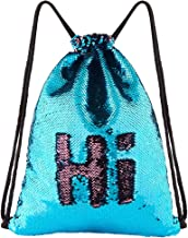 ICOSY Mermaid Sequin Bag Unicorn Drawstring Backpack Dance Bag Gym Sack for Kids