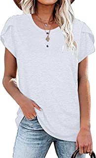 Sponsored Ad - UNIQUEONE Summer Petal Sleeve Tunic Tops Womens Short Sleeve Blouses Button Loose Fit Casual T-Shirt