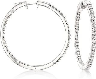 Ross-Simons 2.00 ct. t.w. Diamond Inside-Outside Hoop Earrings in Sterling Silver