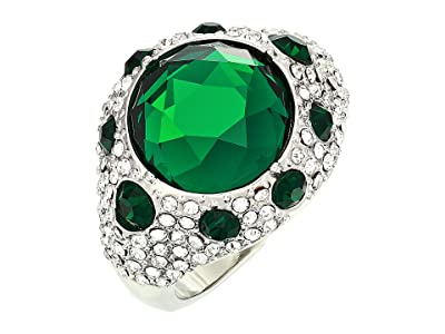 Vince Camuto Round Pave Rings (Rhodium/Crystal/Emerald) Ring
