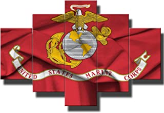 Red Wall Decor Military Posters and Prints on Canvas States Marine Corps Signs Art for Living Room 5 Pcs Paintings Pictures Modern Artwork Giclee Wooden Framed Stretched Ready to Hang(60''Wx40''H)
