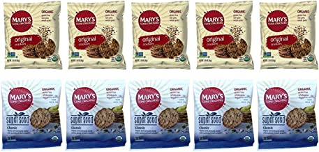 Mary's Gone Crackers Snack Size 2 Flavor 10 Bag Variety Bundle, (5) each: Superseed Classic, and Original (1.25 Ounces)