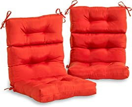 South Pine Porch AM6809S2-SALSA Solid Salsa Red Outdoor High Back Chair Cushion, Set of 2